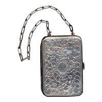 Old Victorian Heavy Silverplate Purse Compact Etched ~R~