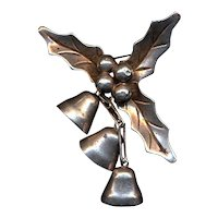 Vintage Mexican Sterling Silver Holiday Holly BELLS Pin