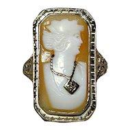 Art Deco Era 10K White Gold Cameo Habille Ring w/ Diamond