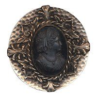 Vintage Big Round Black Glass Cameo Pin in Ornate Frame