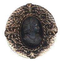 Vintage Big Round Black Glass Cameo Pin in Ornate Frame