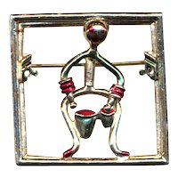 Vintage Bongo Drum Man Pin Brooch - He Moves