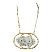 Daring Vintage Big Gold-Tone Enamel Pendant Necklace