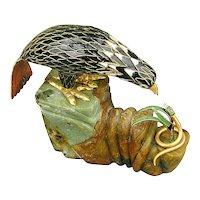 Vintage Chinese Enamel Bird on Big Jade Base w/ Snake