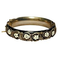 Vintage SANDOR Hinged Bangle Bracelet Raised Floral