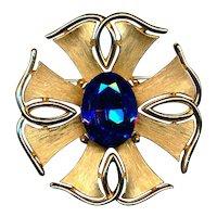Vintage Crown Trifari Flower Pin w/ Cobalt Blue Rhinestone