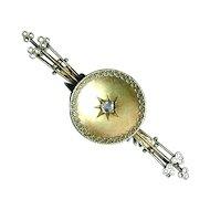 Victorian 14K Gold Pin Brooch w/ Rose Cut Diamond
