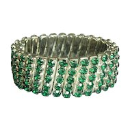 Art Deco Era Faux Emeralds 5-Row Expansion Bracelet