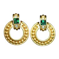 Vintage GIVENCHY Door Knocker Earrings w/ Rhinestones