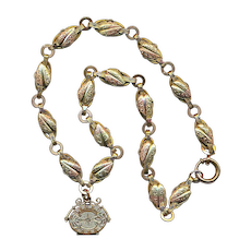 Antique Victorian Gold-Filled Leafy Box Chain w/ Locket Necklace
