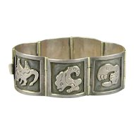 Superb Old Mexican Sterling Silver Link Bracelet Stylized Creatures