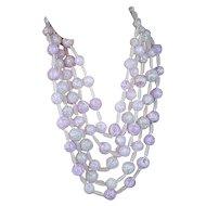Big Pink Crackled Lucite 5-Strand Necklace
