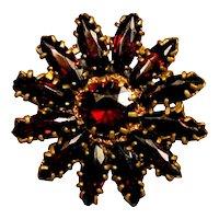 Lovely Old Czech GARNET Sunflower Pin Brooch