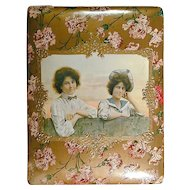 Victorian Celluloid Photo Album Cover - Gals on the Fence
