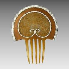 Spectacular Art Nouveau Celluloid Rhinestone Hair Comb Big & Wide
