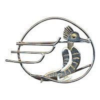 Vintage 1940s CORO Art Deco Stylized Bird Pin Brooch