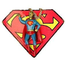 1978 DC Comics SUPERMAN Enamel Pendant Necklace w/ Orig. Header