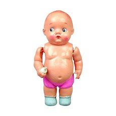 Old 1940s Occupied Japan Celluloid Baby Doll w/ Beer Belly