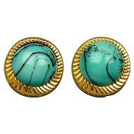 Vintage Nettie Rosenstein Marble Glass Earrings