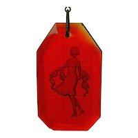 Art Deco Czech Red Glass Intaglio Girl Jet Black Bead Necklace