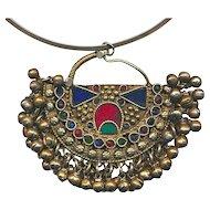 Big Turkmen Pendant Necklace Sterling Neck Band