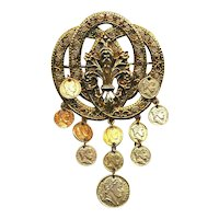 Vintage ART Florentine Gilt Coin Dangles Pin Brooch