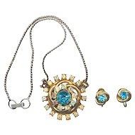 Vintage 1940s CORO Rhinestone Set Pendant Necklace & Earrings