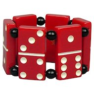 Vintage Big Red Lucite Domino Stretch Bracelet - Masonic