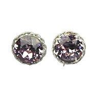 Vintage VOGUE Big Pink Headlight Rhinestone Earrings