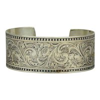 Ed Levin Victorian Revival Sterling Silver Etched Cuff Bracelet