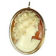 Art Deco Era 10K Gold Carved Shell Cameo Pin - Pendant