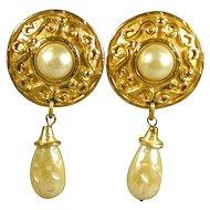 EDOUARD RAMBAUD Big Bold Faux Gold & Pearl Earrings