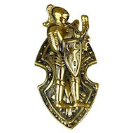 Vintage Solid Brass English Knight in Armor Desk Clip Paperweight