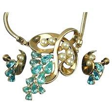Art Deco Era Rhinestone Necklace & Earrings Set