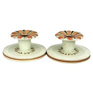 Pair c1920s Royal Copenhagen Aluminia Faience Candle Holders