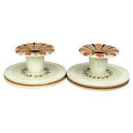 Pair c1920s Royal Copenhagen Aluminia Faience Candle Holders