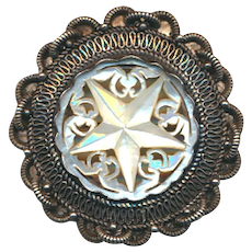Victorian Sterling Silver Pin Pendant w/ Carved MOP Star