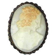 Big Victorian Carved Shell Cameo Pin Brooch Pendant