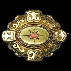 Antique 14K Gold Victorian Hair Photo Locket Pin Brooch