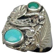 Vintage Navajo Dead Pawn Big Men's Ring Sterling - Turquoise