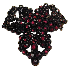 Antique Victorian Bohemian Garnet Pin Brooch - January Birthstone
