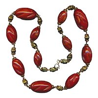 Vintage Mega Red Carved Bakelite Bead Necklace