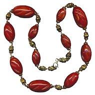 Vintage Mega Red Carved Bakelite Bead Necklace