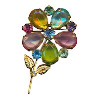 Colorful Clear-Through Rhinestone Flower Pin Brooch