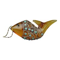 Vintage Amber Lucite Fish Pendant  w/ Turquoise & Sterling Silver