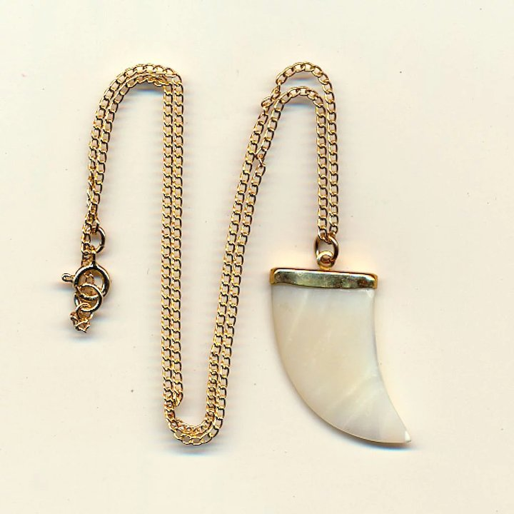 GENTS Gold-Filled Mother of Pearl Shark\'s Tooth Pendant in Box ...