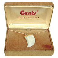 GENTS Gold-Filled Mother of Pearl Shark's Tooth Pendant in Box