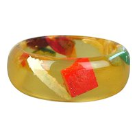 Vintage Lucite Bangle Bracelet Embedded w/ Colorful Stuff
