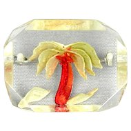 Vintage Chunky Reverse Carved Lucite Pin w/ Palm Tree