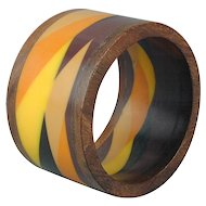 Vintage 2-Inch Wide Lucite & Teak Wood Bracelet - Multi-Color